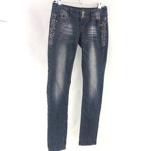 Angels Bejeweled Distressed Blue Denim Jeans 3